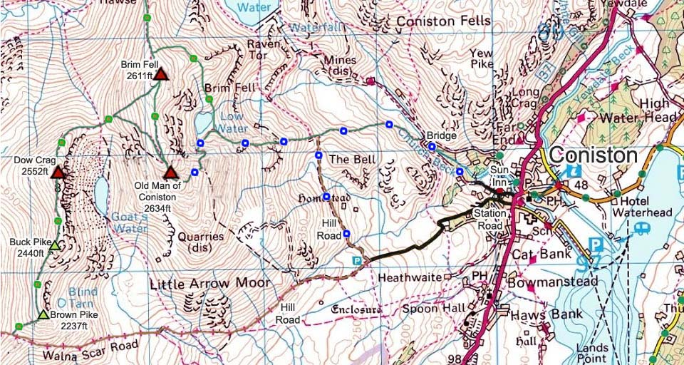 Old Man of Coniston Hiking Map